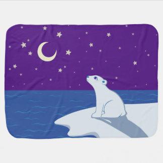 Stargazing Polar Bear Cub Art Baby Blanket