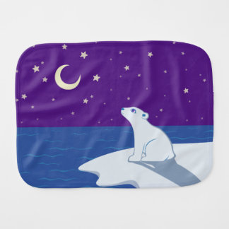 Stargazing Polar Bear Cub Art Burp Cloths