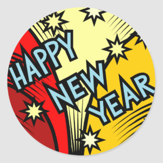 Staring A New Year Classic Round Sticker