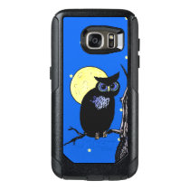 Staring Black Owl Blue Eyes in Tree Moon Stars OtterBox Samsung Galaxy S7 Case
