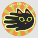 Hand shaped Staring Cat Classic Round Sticker