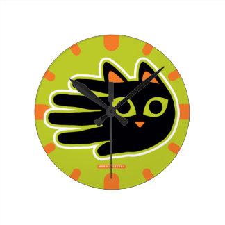 Staring Cat Round Clock