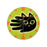 Hand shaped Staring Cat Round Wall Clocks