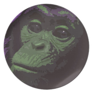 Staring Chimp Face Plate (green)