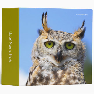 Staring Contest with a Beautiful Great Horned Owl Binder