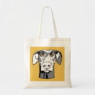 Staring dog tote bag