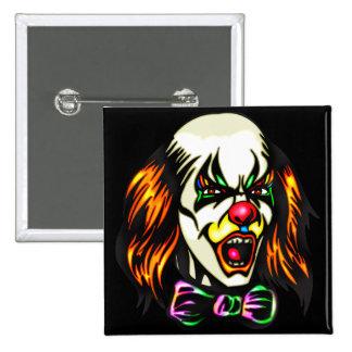 Staring Evil Clown 2 Inch Square Button