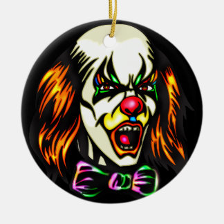 Staring Evil Clown Ceramic Ornament