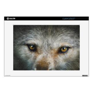 """Staring Grey Wolf Eyes Wildlife Art 15"""" Laptop Skins"""
