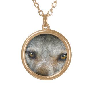 Staring Grey Wolf Eyes Wildlife Art Necklace
