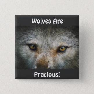 Staring Grey Wolf Eyes Wildlife Art Pinback Button