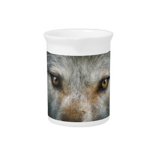 Staring Grey Wolf Eyes Wildlife Art Pitcher