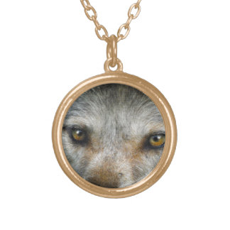 Staring Grey Wolf Eyes Wildlife Art Round Pendant Necklace