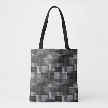 alburtonart Stark Black Abstract Squares Pattern Tote Bag