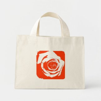 Stark red and white rose bloom graphic bag