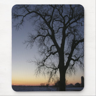 Stark tree photographed against winter sunset mouse pad