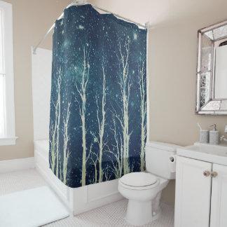 Stark Trees Batik Art Design Blue Shower Curtain