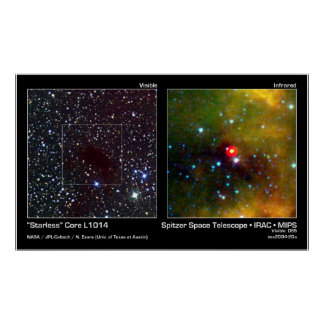 """""""Starless"""" Core L1014 – Spitzer Space Telescope Poster"""