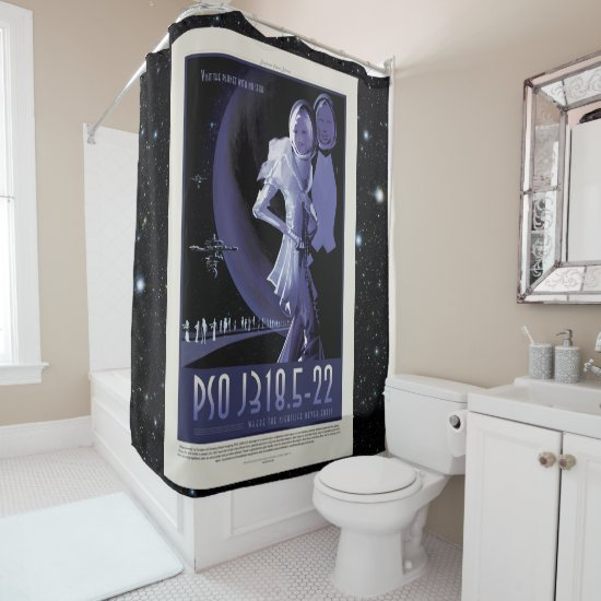 Starless Planet vacation advert space tourism Shower Curtain
