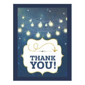 Starlight Galaxy Blue Gold Thank You Postcard