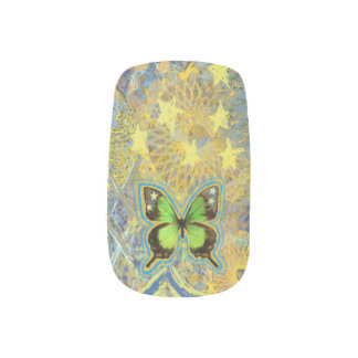 Starlight Green Butterflies Minx Nail Wraps