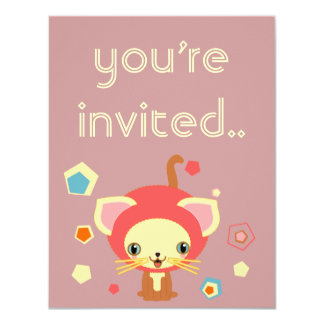 """starlight kitten invitation 4.25"""" x 5.5"""" invitation card"""
