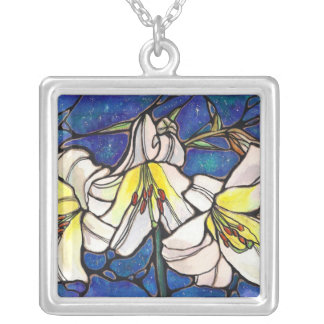 "Starlight Lilies ""mini stained glass window"" ART! Square Pendant Necklace"