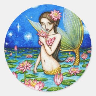 Starlight Lily Mermaid Classic Round Sticker