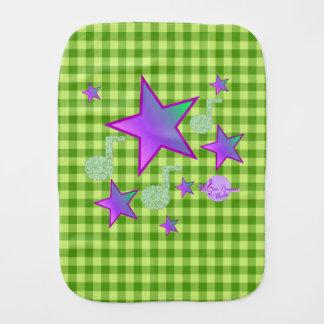 Starlight Lullaby Green Gingham Baby Burp Cloth