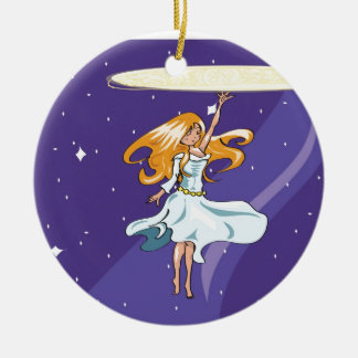 Starlight Magic Double-Sided Ceramic Round Christmas Ornament