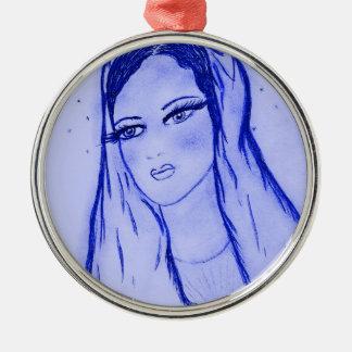 Starlight Mary - Blue - Dry Brush Metal Ornament