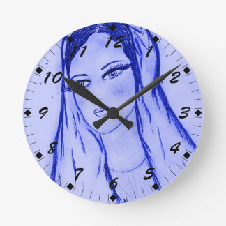 Starlight Mary in Blue Round Clock