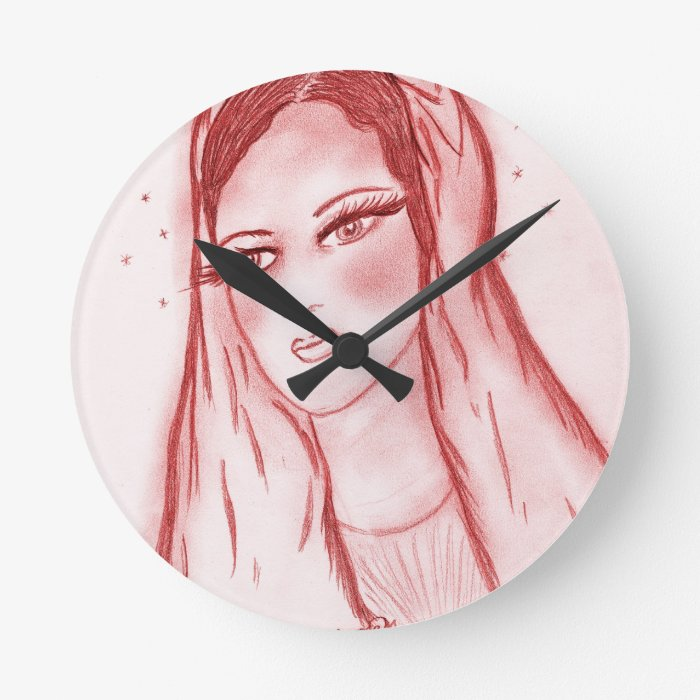 Starlight Mary - in Red Round Clock