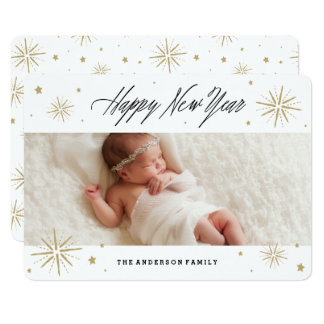 Starlight New Year Holiday Photo Card