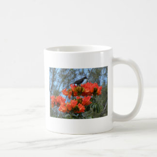Starling Perched On Flowers Coffee Mugs