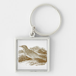Starling Woodcut Keychain
