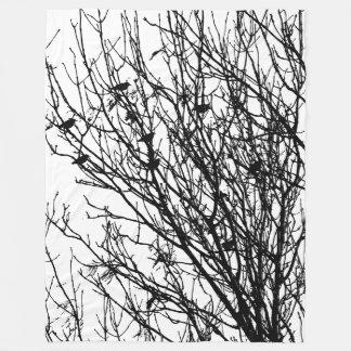 Starlings in a Tree - High Contrast Fleece Blanket