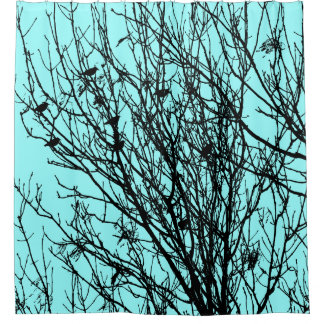 Starlings in a Tree - High Contrast - Ice Blue Shower Curtain
