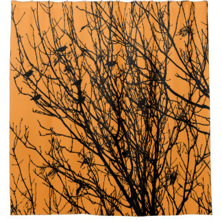 Starlings in a Tree - High Contrast - Light Orange Shower Curtain