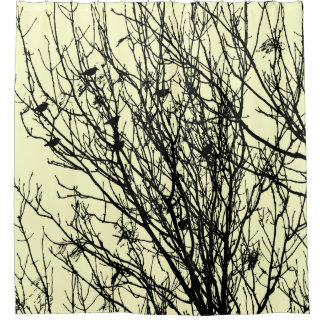 Starlings in a Tree - Pale Yellow #FFFFCC Shower Curtain