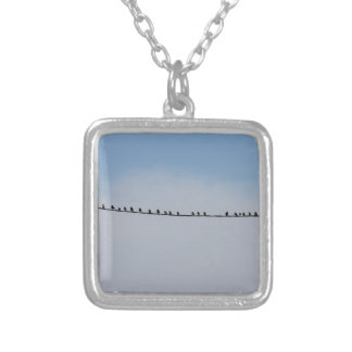 Starlings on a wire silver plated necklace