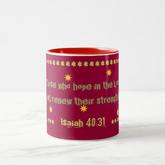Starlit coffee cup with hope in the Lord verse! Two-Tone Coffee Mug
