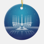 Starlit Menorah II Double-Sided Ceramic Round Christmas Ornament