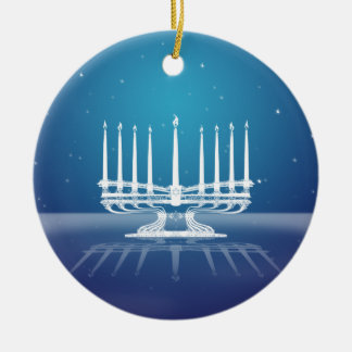 Starlit Menorah II Double-Sided Ceramic Round Christmas Ornament