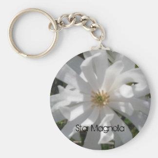 starmagbolia, magnolia de estrella llavero redondo tipo pin