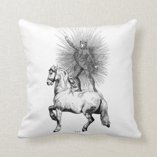 StarMan, black and white drawing, of man and horse Throw Pillow