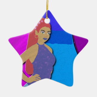 Starr Mirror Double-Sided Star Ceramic Christmas Ornament