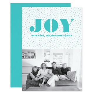 Starred Joy Holiday Photo Card   Turquoise
