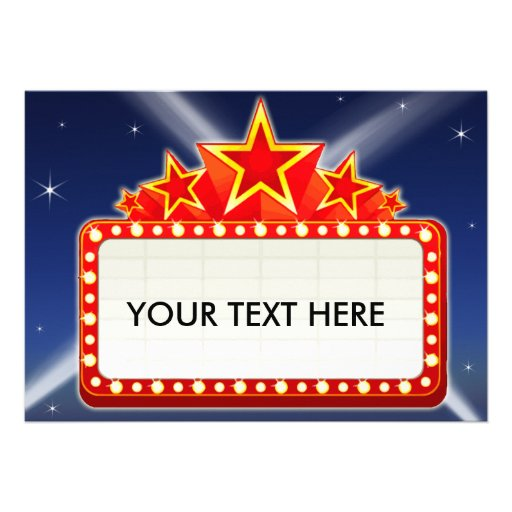 Starred Movie Marquee Custom Blank Back Personalized