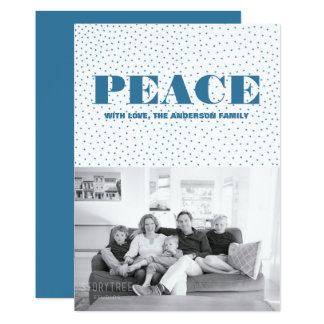 Starred Peace Holiday Photo Card | Blue
